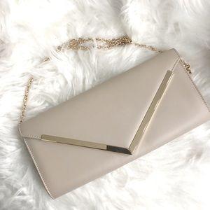 Aldo nude gold envelope clutch nwot evening bag
